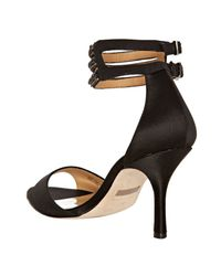 Badgley Mischka | Black Satin Dazzler Ankle Strap Sandals | Lyst