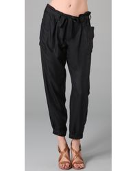 DKNY | Black Pleated Silk Ankle Pants | Lyst