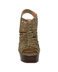 L.A.M.B. | Green Olive Embossed Snake Charisma Platform Sandals | Lyst