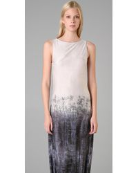 L.A.M.B. - Gray Long Dress with Side Slits - Lyst
