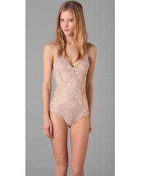 Nightcap - Natural Jungle Lace Bodysuit - Lyst