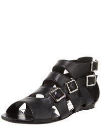 Balmain | Black Four-buckle Flat Sandal | Lyst