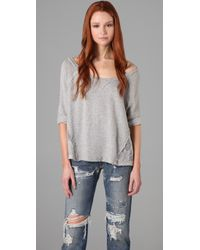 Free People | Gray Cropped French Terry Pullover | Lyst