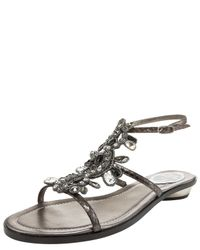 Rene Caovilla   Multicolor Multi-crystal Flat Ankle-wrap Sandal   Lyst
