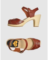 Swedish Hasbeens | Brown Peep-toe Sandals | Lyst
