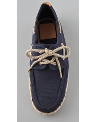 Tory Burch | Blue Canvas Boat Shoes | Lyst