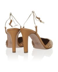 Valentino   Brown Chain-strap Scalloped Leather Pumps   Lyst