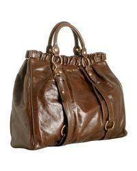 Miu Miu | Brown Rosewood Glazed Leather Large Tote | Lyst