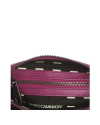 Rebecca Minkoff - Pink Fuchsia Leather and Gunmetal 3 Zip Rocker Crossbody Bag - Lyst