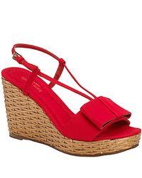 kate spade new york | Callista - Red Grosgrain Wedge Sandal | Lyst
