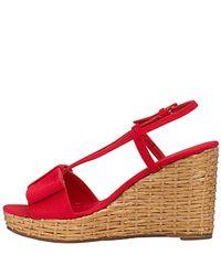 kate spade new york - Callista - Red Grosgrain Wedge Sandal - Lyst