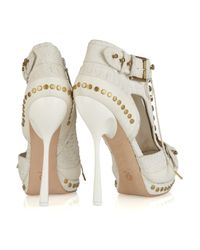 Alexander McQueen - White Stud-embellished Python and Leather Ankle Boots - Lyst