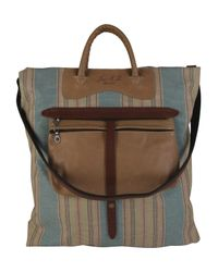 Jas MB | Striped Canvas and Brown Leather Shopper Bag | Lyst