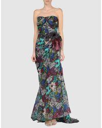 Lanvin - Blue Sleeveless Floral Fil Coupé Dress - Lyst