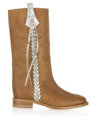 Ralph Lauren Collection | Brown Wendy Braid-detailed Leather Boots | Lyst