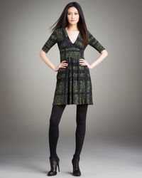 Burberry | Green Camo-print Check Jersey Dress | Lyst