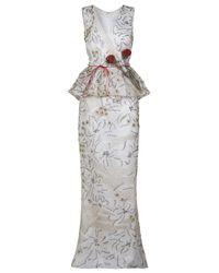 Carolina Herrera | Gray Peplum Gown | Lyst