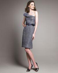 Lela Rose | Blue Embossed One-shoulder Dress | Lyst