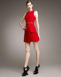 Alexander McQueen   Red Crepe Sleeveless Dress   Lyst