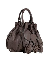 Vince Camuto | Brown Elephant Leather Dahlia Drawstring Top Handle Bag | Lyst