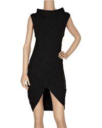 Hervé Léger Black Bandage-style Cashmere-blend Dress