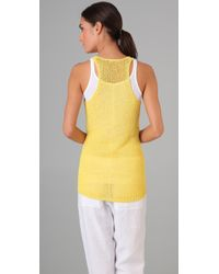 Vince - Yellow Loose-knit Tank Top - Lyst