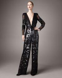Stella McCartney | Black Plunging-v Sequined Jumpsuit | Lyst