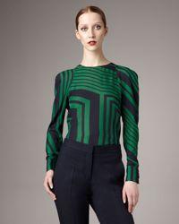 Stella McCartney | Green Geometric-print Puffed-shoulder Blouse | Lyst