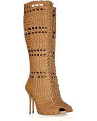 Gucci | Brown Woven Leather Boots | Lyst
