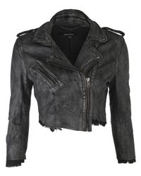 Muubaa | Black Marble Leather Biker Jacket | Lyst