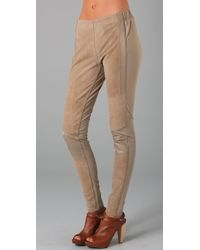 Surface To Air | Natural Suede-paneled Cotton-jersey Leggings | Lyst