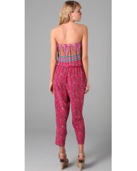 Tibi | Pink Paisley Strapless Jumpsuit | Lyst