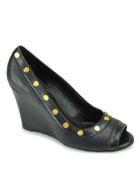 Tory Burch | Black Nelson Studded Open-toe Wedge Sandals | Lyst