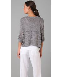 Vince | Gray Wide Cropped Sweater | Lyst