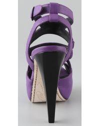Alice + Olivia - Purple Lila Platform Sandals - Lyst