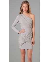 Alice + Olivia - Gray One Sleeve Wrapped Goddess Dress In Light Grey - Lyst
