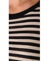 DKNY | Black Striped Crew Neck Top | Lyst