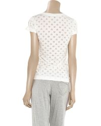 Juicy Couture White Heart-burnout Cotton-blend T-shirt