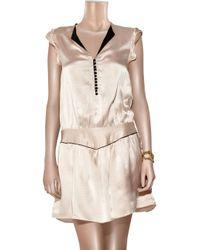 Sandro - Pink Hammered Silk-satin Mini Dress - Lyst