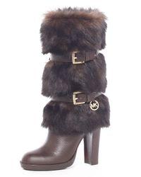 MICHAEL Michael Kors | Brown Michael Michael Kors Carlie Faux-fur Boot | Lyst