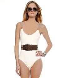 Michael Kors - White Belt-shoulder Swimsuit, Branch - Lyst