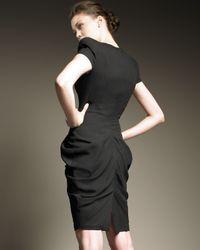 Alexander McQueen - Black Ruched Hip Cap-sleeve Dress - Lyst