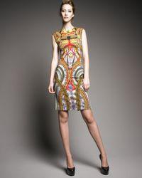 Alexander McQueen | Metallic Jersey Samurai-print Dress | Lyst