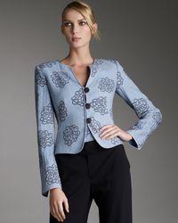 Armani | Blue Rose Plissé Silk Jacket | Lyst