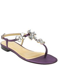 kate spade new york | Purple Frankie - Plum Satin Flat Embellished Sandal | Lyst