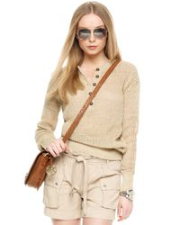 Michael Kors | Brown Michael Mesh Knit Henley Sweater | Lyst