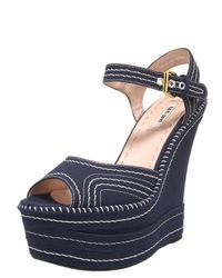 Miu Miu | Blue Contrast Stitch Wedge | Lyst
