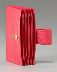 Prada | Pink Saffiano Leather Accordion Card Case | Lyst