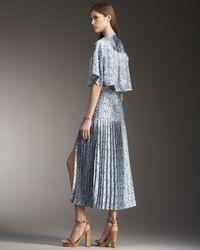 Stella McCartney | Blue Pleated Capelet-back Dress | Lyst