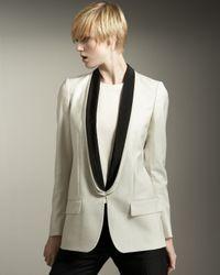Stella McCartney | White Contrast-lapel Tuxedo Jacket | Lyst